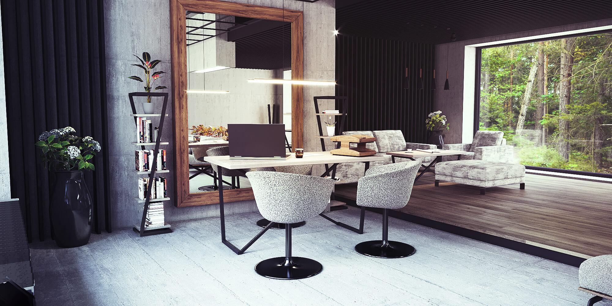 Projekt gabinetu home office styl loftowy